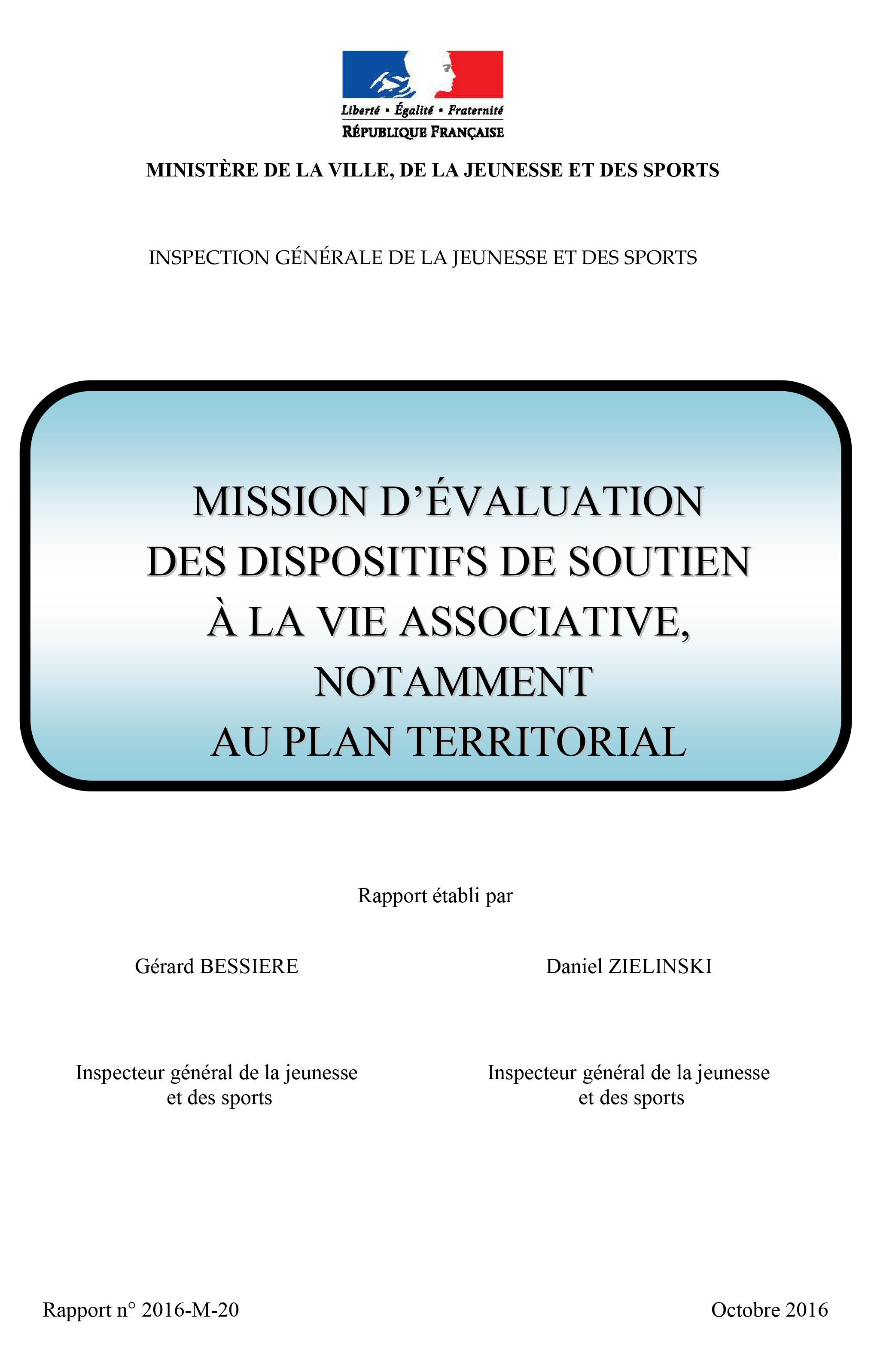 Mission d'évaluation des dispositifs de soutien à la vie associative, notamment au plan territorial – IGJS