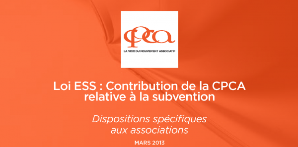 Loi ESS : Contribution du Mouvement associatif relative à la subvention