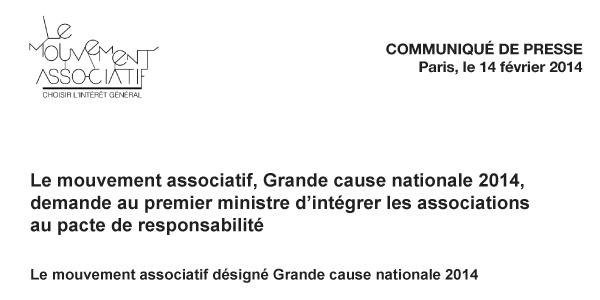 "Communiqué : ""Le Mouvement associatif : Grande cause nationale 2014""…"
