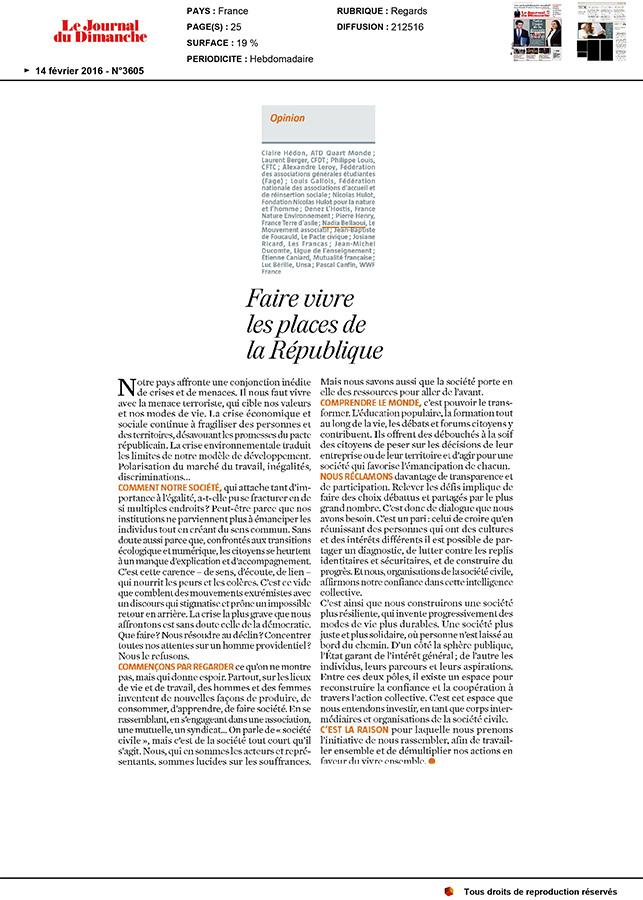 Le Journal du Dimanche - 14 février 2016 - Faire vivre les places de la République
