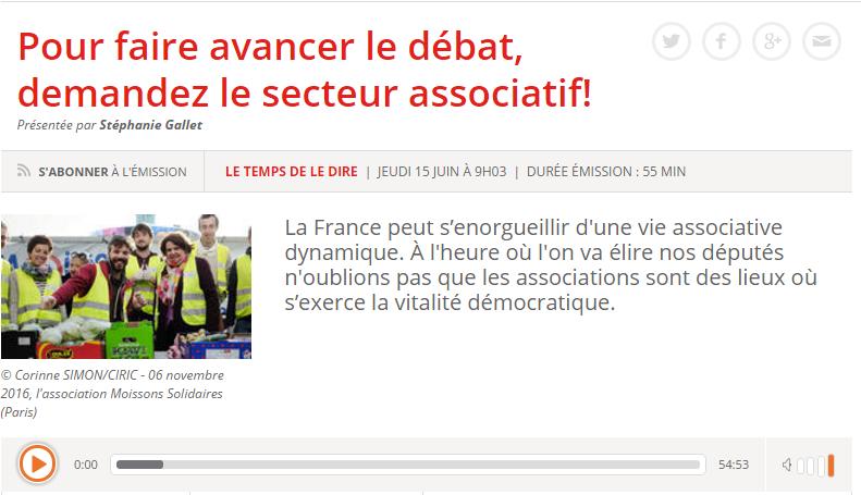 «Pour faire avancer le débat, demandez le secteur associatif!» / RCF Radio