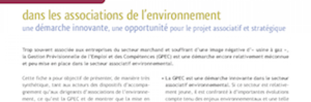 La GPEC dans les associations environnementales