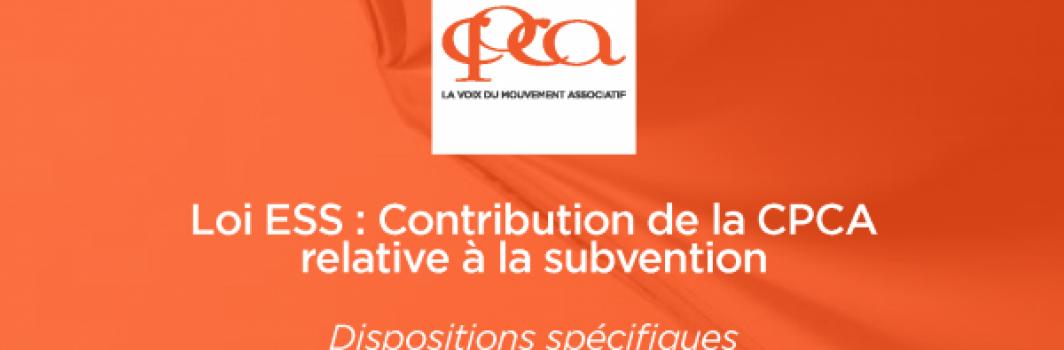 Loi ESS : Contribution du Mouvement associatif relative à la subvention