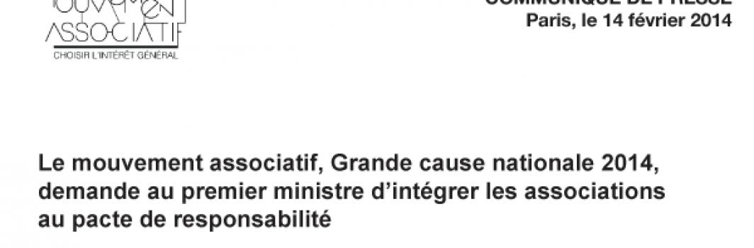 """Communiqué : """"Le Mouvement associatif : Grande cause nationale 2014""""…"""