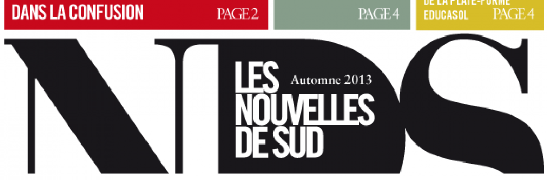 """""""Nouvelles de Sud"""" – automne 2013"""